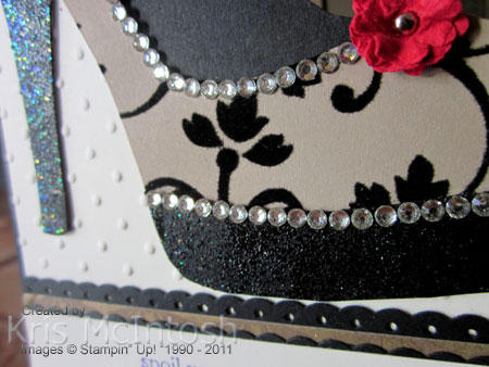 A special birthday card stamping with kris i added the strips of basic rhinestones across the top of the sole and heel and around the edge of the shoe lastly i punched two of the smallest flowers on maxwellsz